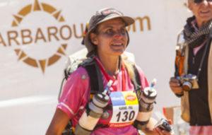 Karine Baillet à l'arrivée du Marathon des sables