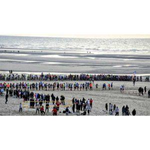 Départ sur la plage du Touquet d'un événement organisé par Karine Baillet Organisation