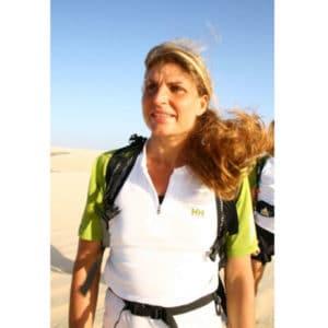 Karine Baillet prête à prendre le départ d'une course équipée en Helly Hansen