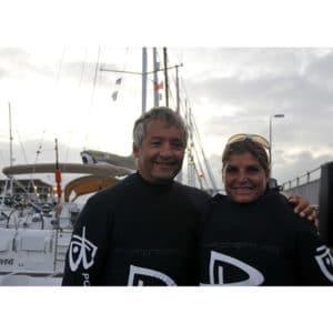 Karine Baillet et Yvan Bourgnon avant leur départ de la traversé de la manche