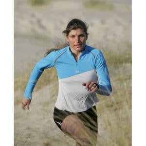 Karine Baillet en course à pied dans les dunes du Touquet